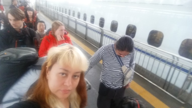 waiting to ride shinkansen to kyoto